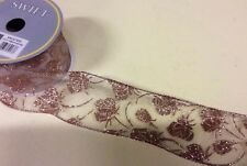 """10yd Roll Floral Rose Pink Fabric Wire Edge Christmas Ribbon 2.5"""" Wide"""