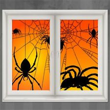 Halloween Party Haunted Window Silhouettes Scene Giant Cats And Bats Decoration