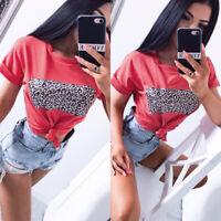 Women Summer Round Neck Short Sleeves Leopard Print Slim Bodycon Tee T-Shirt Top