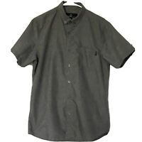 Molokai Surf Co Mens Medium Shirt Button Down Short Sleeves Gray