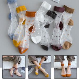 Elegant Women Transparent Short Sock Mesh Dot Silk Invisible Ankle Socks Thin