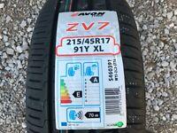 1 x  NEW 215 45 17 AVON ZV7 TYRE 215/45 R17 91Y XL