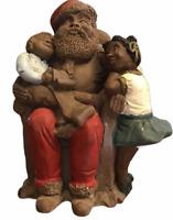 "VTG African American Santa & Children Resin Figurine by Phillip Gunter 6""x5"" HTF"