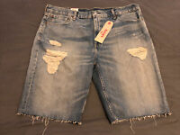 Levis Jeans Denim Shorts 511 Slim Ripped Style Uk Large Waist 40 Inches