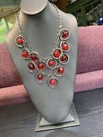"Vintage  Ladies Bright red Beaded Cha Cha  Tibetan Silver 16"" Bib Necklace"