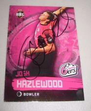 Josh Hazlewood (Australia) signed Sydney 6's BBL Card + COA