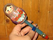 Baby Rattle Traditional wooden Russian Doll Unique hand painted signed Ryabova