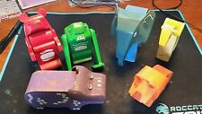 Lot of 6  Painted Animal Toy's - wood with plastic tilting heads