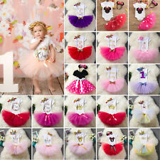 Baby Girls 1st Birthday Party Outfit Suit Dress Tulle Skirt Set Headband Outfits