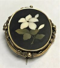Antique 16K Gold Stunning Peitra Dura Stone Painted Flower Pin Rome