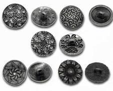 50 Mix Antik Silber Metall Knopf/Knöpfe Buttons Nähen Basteln 17mm-23mm