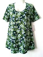 NEW WOMEN'S LULAROE FLORAL SHORT SLEEVE PERFECT T TUNIC TOP SIZE S BNWT