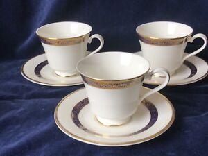 Royal Doulton  England Harlow H 5034 Bone China 3 Tea Cups &  3 Saucers