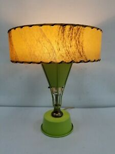 Vtg Mid Century Table Lamp Figerglass Shade 1960s MCM