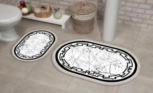 2 teilig Badematte, Badvorleger rutschhemmend, marmor , oval 3214
