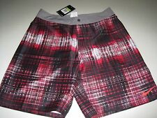 $85 NIKE SHEDS WATER BOARD SHORTS BLACK RED WHITE SU13786 614 MEN'S SIZE 30 NWT