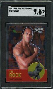 The Rock Dwayne Johnson 2006 Topps Chrome WWE Heritage Wrestling Card#10 SGC 9.5