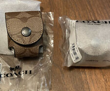 Coach Airpods Earbud Case Bag Charm Keychain in Signature Canvas Tan F85025