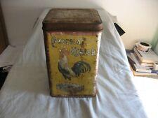 ancienne grande boite en tôle ancienne pour les chocolats Kohler décor coq 1920