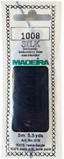 Madeira 100% PURE SILK Color 1008 BLUE 4-Strand Hand Embroidery Thread 5.5 Yards