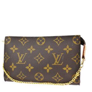 LOUIS VUITTON LV Bucket PM Chain Hand Pouch Bag Monogram Leather Brown 62MI767