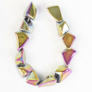 12Pcs/set Rainbow Titanium Crystal Freeform Pendant Bead D62903