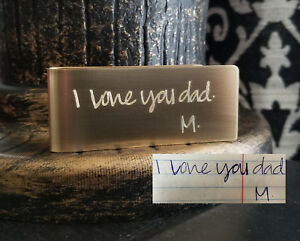 Handwriting Signature Money Clip Holder Sterling Silver Copper Aluminum Nu Gold