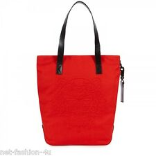 KENZO PARIS EMBROIDERED TIGER RED WOOL AND LEATHER SHOPPER BAG BNWT