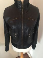 Gorgeous Dark Brown Leather Jacket River Island Size 12