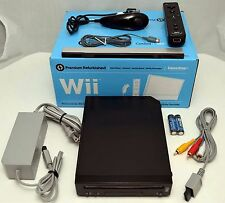 Nintendo Wii BLACK Home Video Game Console System Bundle Online GameCube RVL-001