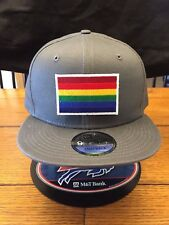 New Era NE400 Charcoal Flat Brim Snap back Hat/Cap LGBTQ Rainbow Patch Gay Pride
