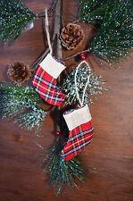 2 x Natale Tartan Hessian calza Albero Porta Finestra Decorazioni Ornamenti
