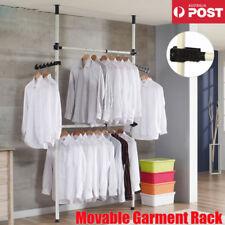 2 Poles 2 Bars Adjustable Movable Garment Rack DIY Coat Hanger Clothes Wardrobe