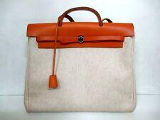 Authentic HERMES Ivory Brown Her Bag MM Toile H Box Calf Handbag w/ Strap