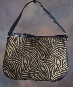 TALBOTS Animal Print Hobo Bag Leather straps Brown black