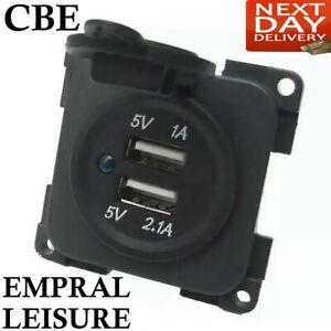12v CBE C-Line Dual Double USB Socket Module Charger Campervan Caravan Motorhome