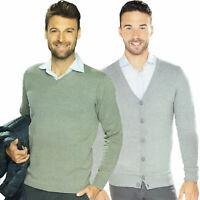 Herren Cardigan Strickjacke Pullover Oberteil V-Ausschnitt Knopfleiste Öko Tex