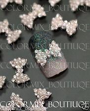 #CA084  10pcs 3D Nail Art Deco White Pearl Bow Alloy Jewelry Glitter Rhinestone