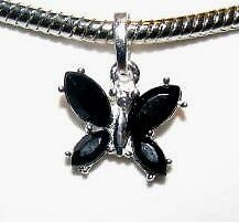 BLACK BUTTERFLY CHARM FIT EORO AND LINKS BRACELET