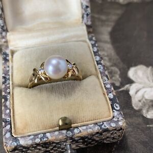 Vintage 18ct Pearl and Diamond Ring, Japanese Akoya Cultured UK L - M