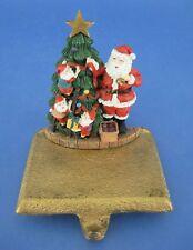 Christmas Stocking Holder Hanger Cast Iron Santa Claus Elves Decorate Tree