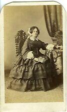 Photo CDV 1860, MADAME ALLAN POSE MODE FASHION - PARIS MAUJEAN