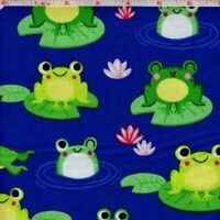 FROGS ON LILYPADS Cotton Print by TIMELESS TREASURES BTY