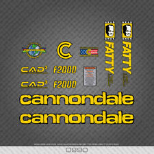 0990 Cannondale F2000 CAD3 Fatty Bicycle Stickers - Decals - Transfers - Yellow