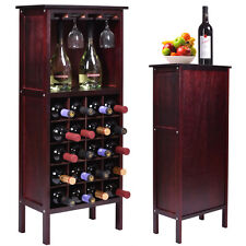 Wood Wine Cabinet Bottle Holder Storage Kitchen Home Bar w/ Glass Rack Brand New
