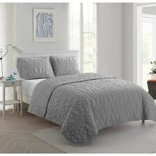 King Quilt Bedding Set Gray Comforter Bedspread Cover Beach Ocean Sea Shells