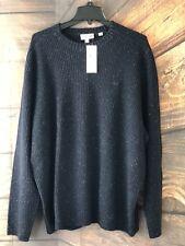 Men's Lacoste NWT $225 Wool Blend Crew Neck Knit Sweater Heather Navy Sz 9/4XL