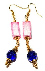 Large Long Gold Blue Pink Earrings Drop Dangle Crackle Glass Beads Vintage Chic