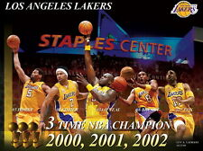 "745 NBA Super Stars - LA Lakers Champions 2000 2001 2002 19""x14"" Poster"