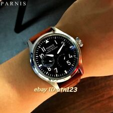 Parnis 47mm Power Reserve Black Dial Seagull Automatic Movement Men's Watch 1395